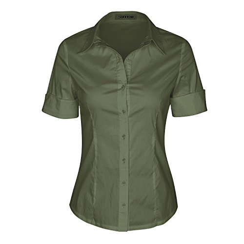 SUNNOW Womens Tailored Short Sleeve Basic Simple Button-Down Shirt with Stretch (M, Army Green)
