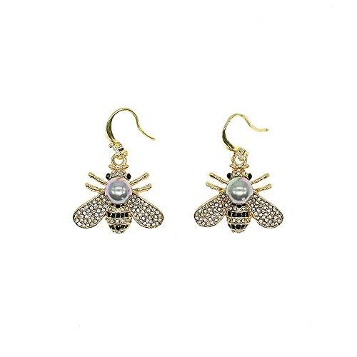 HSQYJ Honey Bee Drop Earrings Crystal Insect Themed Dangle Earring Animal Fashion Shell Pearl Hook Earring Gold Tone for Women Girl Jewelry (Gray Pearl Earring)