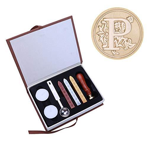 Kit de sello de cera, kit de regalo de sellos de cera, cera de sellado retro creativa con cabeza de color de latón, invitaciones de boda, tarjeta, envoltura de regalo