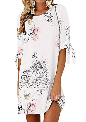 Lovelegis letnia sukienka damska - chemijer - długa - na co dzień - róża - kwiaty - kwiatowa fantazja - nadruk boho kwiatów - sukienka - plaża - morze - biały kolor
