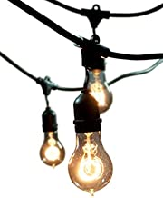 Bulbrite String15/E26-A19KT Nostalgic Edison Outdoor, Garden, Patio, Wedding, Party, Holiday, Lawn, and Landscape String Light with Vintage Edison Bulbs, 48-Feet, 15 Lights, Black