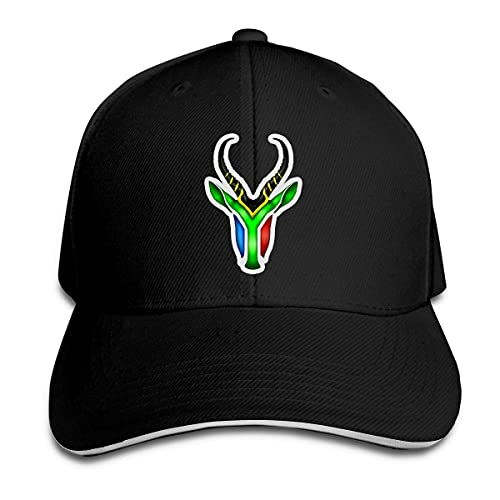 XCNGG South African Springbok Unisex Gorra Ajustable Magic Buckle Sandwich Sombreros Deportes al Aire Libre Negro