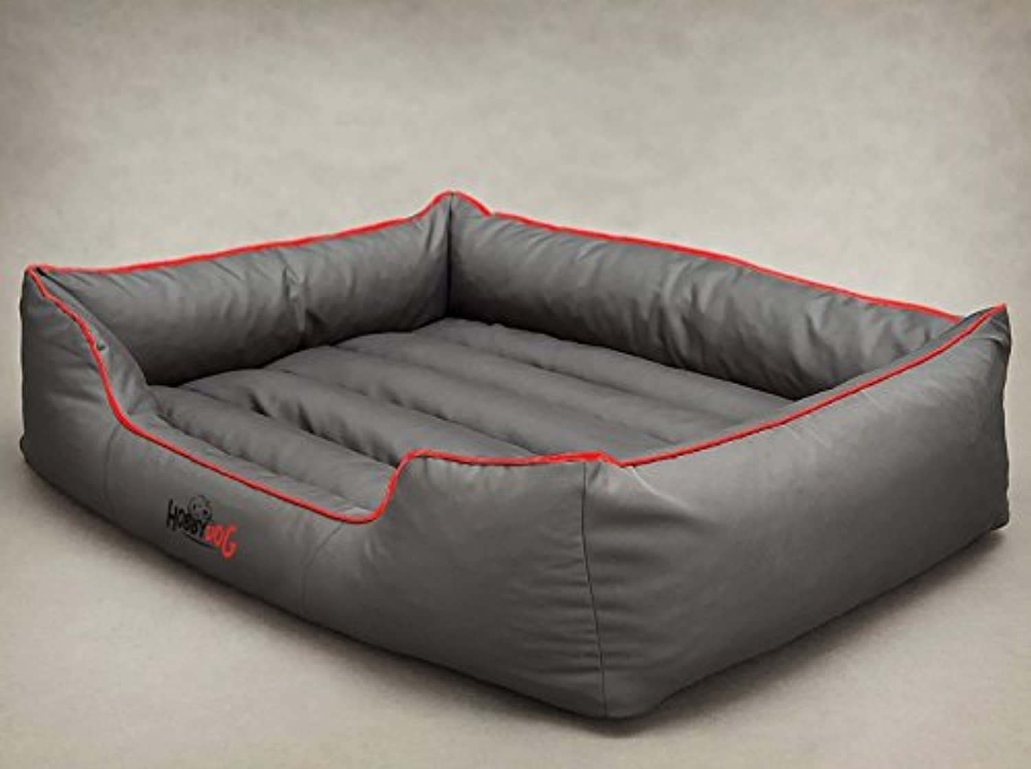 HOBBYDOG Cordura Comfort Dog Bed, 2XLarge, Grey Red Piping