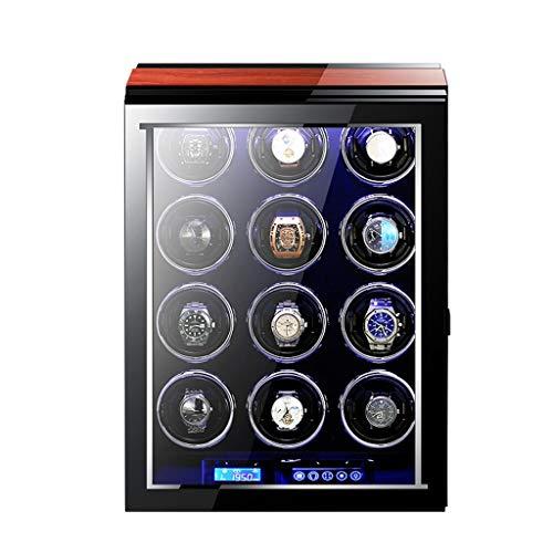 SYN-GUGAI Watch Enrollador Caja de Relojes automáticos de Lujo para 12 Relojes con Pantalla táctil LCD de Motor Ultra silencioso y Caja enrolladora de Reloj con Control Remoto
