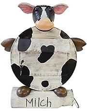 """Decoratieve brievenbus """"ERNA"""", motief: koe met krantenrol in de vorm van een melkkan 2169"""