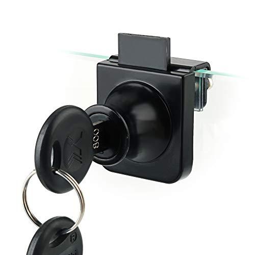 Sayayo Cerradura de puerta de cristal con llaves, cerradura de exhibición única para vidrio de 5 a 8 mm, no requiere perforación, acabado negro mate, EBLMS407-B