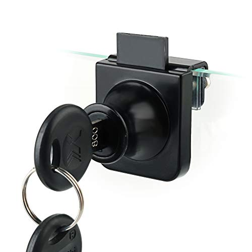 Sayayo Cabinet Locks Glass Door Lock with Keys, Single Display Showcase Lock for 5-8mm Glass, No Drilling Required, Matte Black Finish, EBLMS407-B