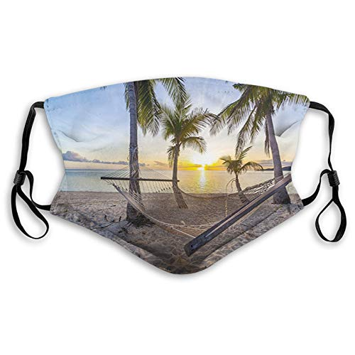 Stylish Face Mask with Replaceable Filters Activated Carbon Mask, Daily Use Washable Skin-Friendly Proof Dust Mask, Paradise Beach with Hammock and Coconut Palm Trees Horizon Coast Vacation Scenery