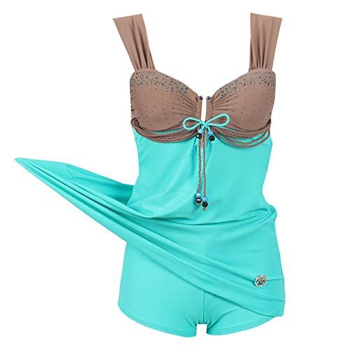 Moktasp Plus Size Swimwear One Piece Swimsuit Large Size Retro Swimming Suit for Women Bathing Suits Swim Wear Blue