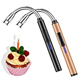 2 Pack Lighters Candle Lighter Flameless Long Flexible Neck USB Arc Lighter for Candle Camping Grill Stoves Cooking Fireworks Survival