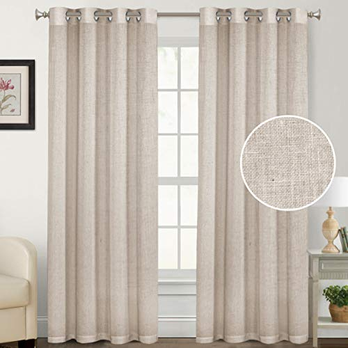 """Natural Rich Linen Curtains Semi Sheer for Bedroom/Living Room/Dining   Grommet Top Textured Flax Window Curtain Drapes Privacy Added Light Reducing Soft Curtains 2 Panels (Angora, 52"""" W x 84"""" L)"""