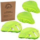 modernUP 2er Set - 2X Fahrradhelm Regenschutz + 2X Fahrradsattel Regenschutz | Überzug für Helm & Sattel | reflektierend & wasserdicht | für trockene Haare & einen trockenen Po (Neon, 2er Set)