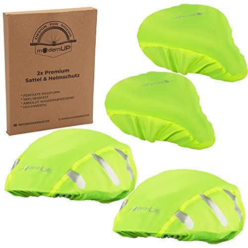 modernUP Regenschutz Set - Fahrradhelm Regenschutz & Fahrradsattel Regenschutz | Überzug für Helm & Sattel | reflektierend & wasserdicht | für trockene Haare & trockenen Po (Neon, 1er Set)