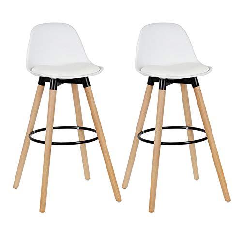 Juego de 2 sillas de salón, sillas de bar, patas de madera de haya blanca, superficie de polipropileno, taburetes de bar, sillas para casa, oficina, cocina, comedor, sillas de café, color blanco