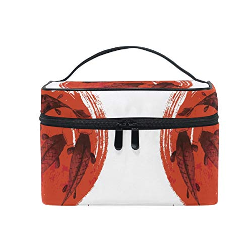 Red Black Fishes Cosmetic Bag Organizer Zipper Makeup Bags Pouch Toiletry Case for Girl Women
