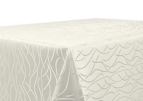 BEAUTEX Tischdecke Damast Streifen - Bügelfreies Tischtuch - Fleckabweisende, Pflegeleichte Tischwäsche - Tafeltuch, Eckig 130x220 cm, Champagner