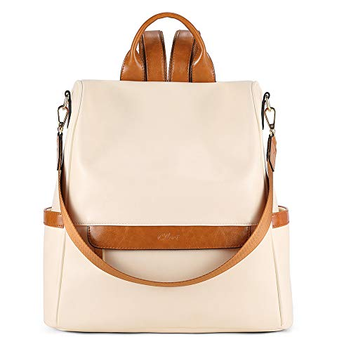 CLUCI Women Backpack Purse Fashion Leather Large Designer Travel Bag Ladies Shoulder Bags Oil Wax White