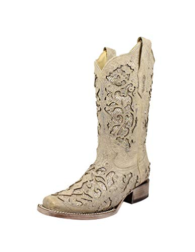 "CORRAL Western Boots Womens Glitter Inlay 11.5"" 5.5 M White A3397"