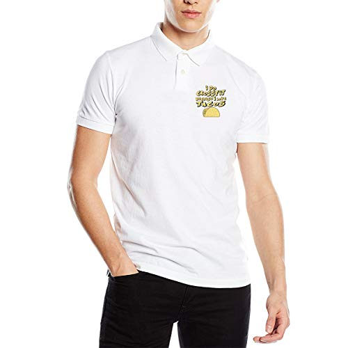 Zhiwei Station I Do Crossfit Because I Love Tacos Men's Classic Fit Short Sleeve Solid Soft Cotton Polo Shirt White
