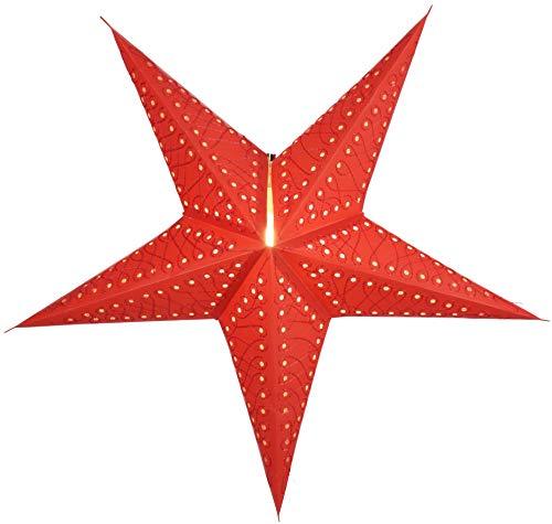Guru-Shop Opvouwbare Advent Verlichte Papieren Ster, Kerstster 60 cm - Maratea Rood, Papieren Sterren - Enkelkleurig