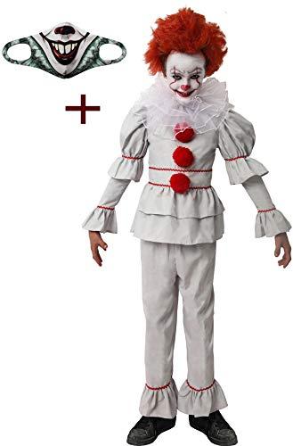 Gojoy shop- Disfraz y Mascarilla de It para Niños Halloween Carnaval (Contiene Camiseta, Pantalón, Cuello y Mascarilla Higiénica Reutilizable, Disfraz Tiene 4 Tallas Diferentes) (10-12 años)