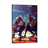 NA MJ and Lebron Remember Kobe Picture Art Prints, Basketball Forever Legend Flying Man Bryant James Canvas Wall Art for Kobe Fans Gift, Posters for Men Boys Room Wall Bedroom Decorations (24x36inch)