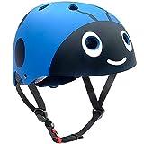 Casco para niños y niñas Casco cómodo Ajustable de Seguridad para patineta, patineta, Bicicleta (3-8 años) (Blue Ladybug, S(3-8years Old))