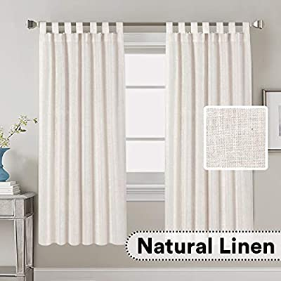 """Linen Curtains Natural Linen Blended Curtains Tab Top Window Treatments Panels Drapes for Living Room / Bedroom, Elegant Energy Efficient Light Filtering Curtains (Set of 2, 52"""" x 72""""?Natural)"""
