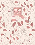 2021 - 2022 Academic: Diary A4 Week to View on 2 Pages WO2P | Mid - Year Weekly Student Planner Horizontal Layout | Aug 21 - Aug 22 Journal | Baby Pink & Rose Gold Leaves & Vines Pattern