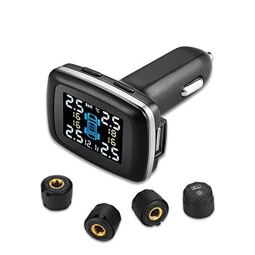 TPMSタイヤ空気圧監視システム、4個の外部センサー、シガーライタープラグ付きユニバーサルワイヤレスカーアラームシステムLCDディスプレイ