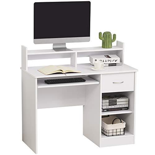 HOMCOM Computertisch, Arbeitstisch, Schreibtisch, Bürotisch, Gamingtisch, PC-Tisch mit Schublade, E1 Spanplatte, Weiß, 104 x 48 x 95,5 cm