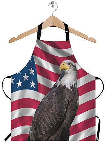WONDERTIFY American Flag Eagle Apron,Patriotic Symbol USA Flag Stars and Stripes with Bald Eagle Bib Apron with Adjustable Neck for Men Women,Suitable for Home Kitchen Cooking Waitress Chef Apron