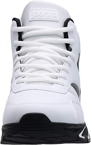 JOOMRA Mens Work Tennis Shoes White Leather Lace up High Top Leather Cushion Sport Snikers Jogging Basketball Daily Fashion Sneakers Size 9.5