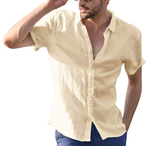 Camisa Delgada de Manga Corta de Color sólido para Hombre, Solapa de Moda, tamaño Grande, cómodo, cómodo, Camisas Casuales de Todo fósforo M