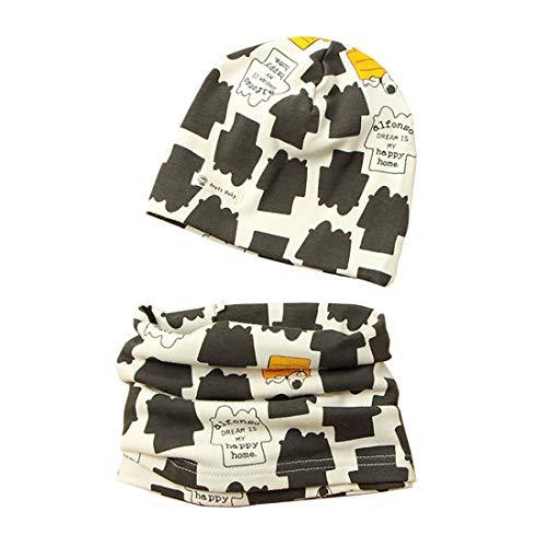 Boomly Berretto Scaldacollo Autunno e Inverno Carino Morbida Caldo Set di Cappello Sciarpa Berretto in Cotone Scaldacollo Sciarpa per Bambino o-ring Sciarpa Infantile (#1, Large)