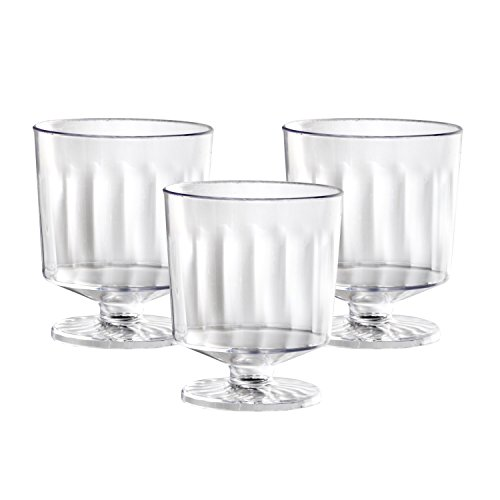 Party Essentials N223021 20 Count 1 Piece Hard Plastic Mini Wine Taster Glasses, 2 oz, Clear