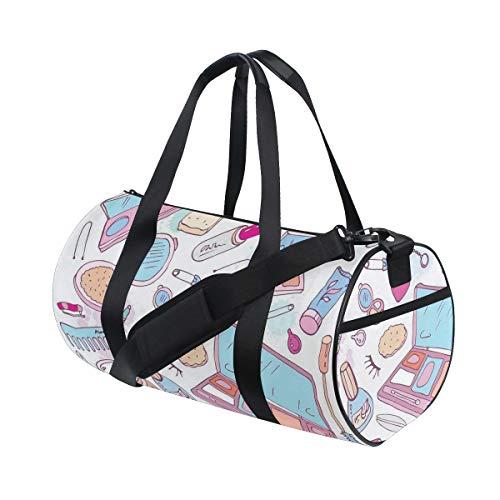 HARXISE Bolsa de Viaje,Múltiples Productos de Maquillaje para Mujer Ilustración Cosméticos Concepto de Belleza y Glamour,Bolsa de Deporte con Compartimento para Sports Gym Bag