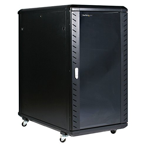 StarTech.com 22U Server Rack Cabinet with secure locking door - 4 Post Adjustable Depth (5.5' to 28.7') - 1768 lb capacity - 19 inch Portable Network Equipment Enclosure on wheels/casters (RK2236BKF)