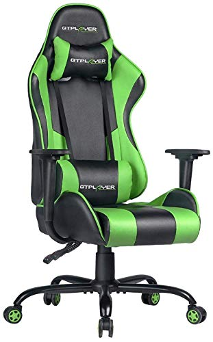 GTPLAYER Gaming Chair Office Desk Chair Swivel Heavy Duty Chair Ergonomic Design with Cushion and Reclining Back Support(Green)