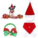 Heqishun Disfraces de Mascota de Navidad, Sombrero Bufanda de Santa Navidad de Gato Perro, Pajarita de Mascotas de Navidad para Perros Disfraces Navideños para Cachorros, Gatos, Mascotas Pequeños