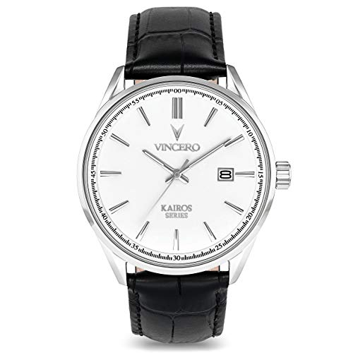 Vincero Luxury Men's Kairos Wrist Watch - Top Grain Italian Leather Watch Band - 42mm Analog Watch - Japanese Quartz Movement (White/Black)