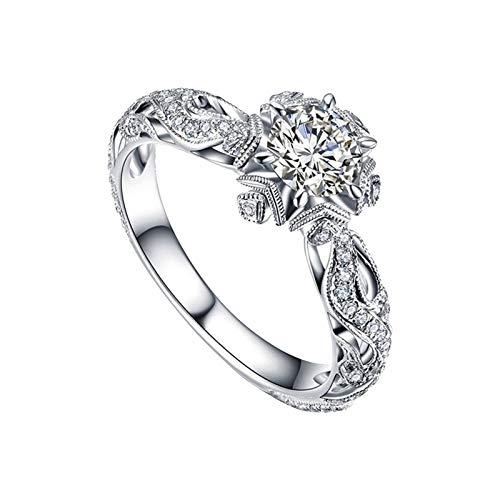 minjiSF Anillo de diamante para mujer, no se decolora, único, alianzas de...