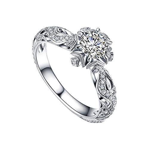 Silver Round Cubic Zirconia Vintage Bridal Ring Halo Floral Art Deco Wedding Engagement Ring Round Cubic Zirconia