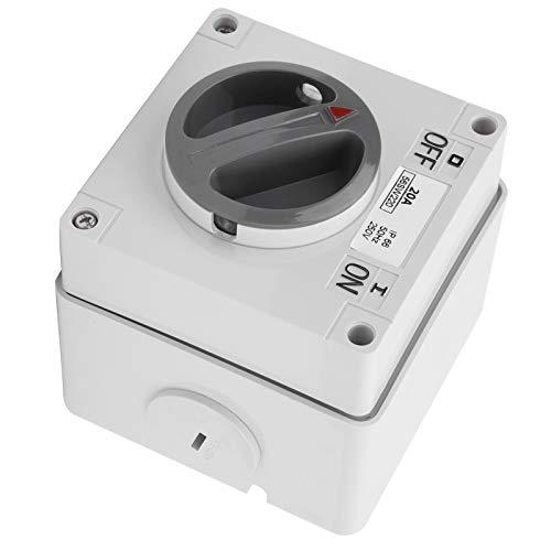 Presa per Interruttore Impermeabile per Esterni, Interruttore Rotativo di Isolamento Antipolvere, Pulsanti e Indicatori 250 V, Alta Resistenza Alla Corrosione, con Foro di Blocco(2P20A)