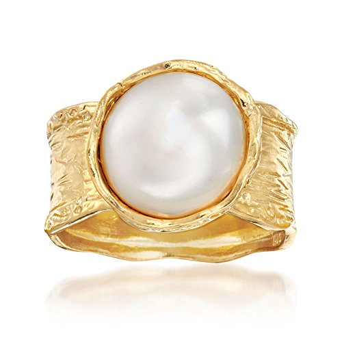 Ross-Simons 11.5-12mm Cultured Button Pearl Ring in 18kt Yellow Gold Over Sterling. Size 8