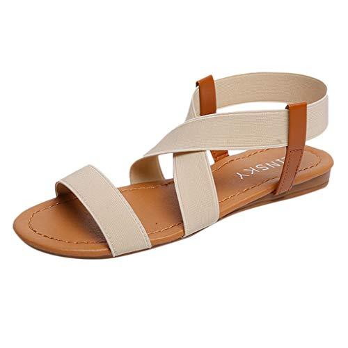 potente para casa Sandalias Mujer Verano 2019 Planas, zapatos de playa Sandalias romanas elásticas…
