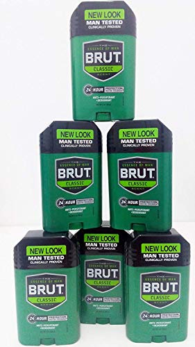 Brut Mens 24 hr Anti-Perspirant/Deodorant Solid 2 oz Original Scent-6 Pack