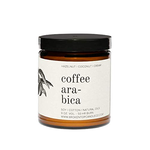 Broken Top Candle Company - Coffee Arabica|9 oz. Hazelnut, Coconut & Cream. Pure Soy Wax Candle. 50-Hour Burn Time. Natural Cotton Wick, Vegan, No Parabens, No Phthalates