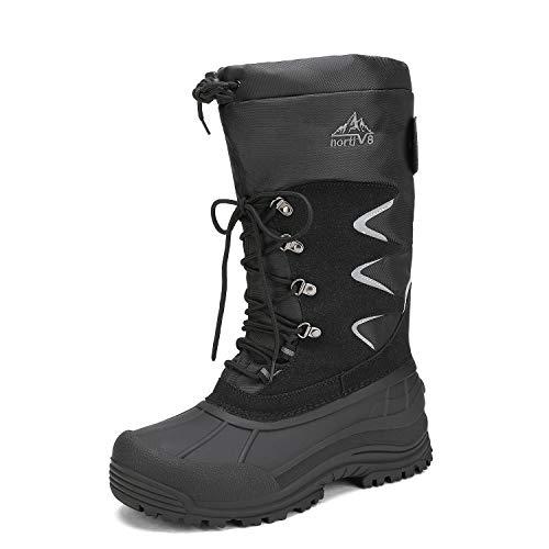 NORTIV 8 Men's Waterproof Hiking Winter Snow Boots Insulated Fur Liner Lightweight Outdoor Booties Black Size 9 M US MOUNTAINEER-1M
