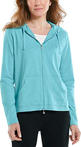 Coolibar UPF 50+ Women's Seaside Hoodie - Sun Protective (X-Large- Ocean Turquoise Heather)
